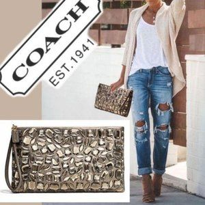 COACH Purse MADISON JEWELED CLUTCH BROWN Large bag